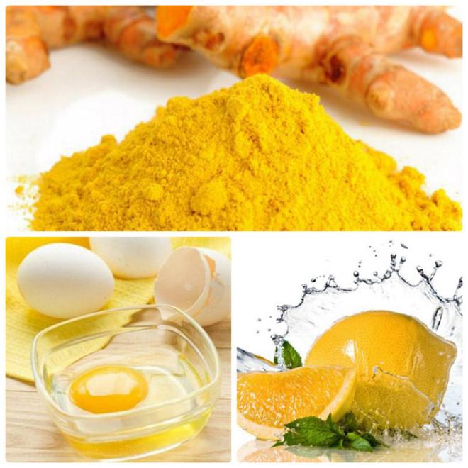 trị mụn ẩn bằng trứng gà- chanh - nghệ