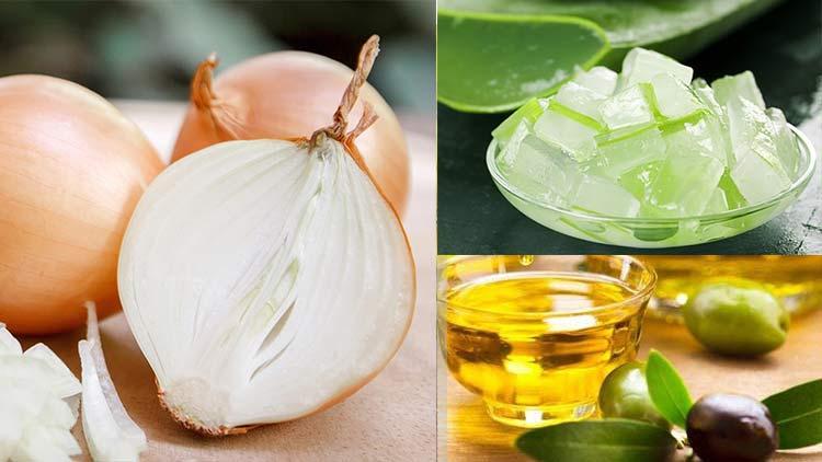 Hỗn hợp giúp dài tóc với hành tây-nha đam-dầu oliu