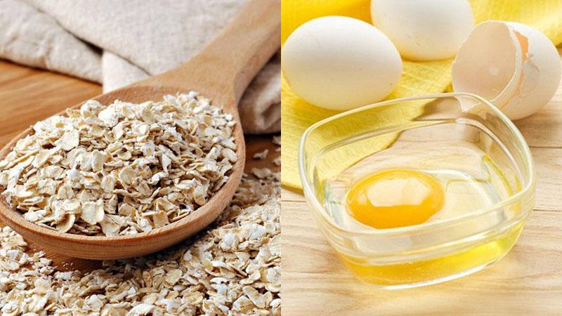 trị thâm mụn bằng trứng gà và yến mạch